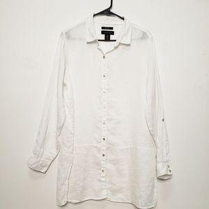 Tahari Tunic Length White Linen Button Up Top